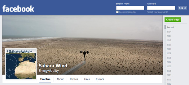 Sahara Wind Project Facebook Page